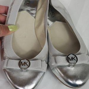 Michael Kors flats ballet silver leather sz 8